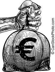 バーラップ, お金, 袋, 印, 袋, 手を持つ, ユーロ