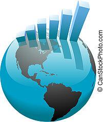 バー, ビジネス, グラフ, 世界的である, 成長, 世界