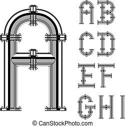 パイプ, 手紙, クロム, アルファベット, 1, ベクトル, 部分