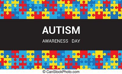 パズル小片, autism, 黒, day., バックグラウンド。, strip., 認識
