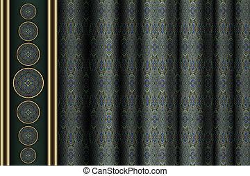パターン装飾された, カーテン, 背景