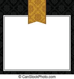 パターン装飾された, フレーム, ベクトル, 金のリボン