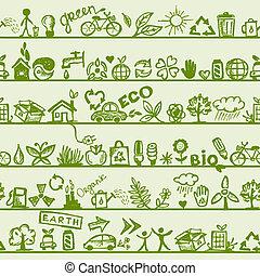 パターン, あなたの, seamless, concept., エコロジー, デザイン