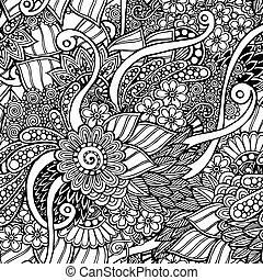 パターン, いたずら書き, レトロ, 黒, seamless, 背景, 花, 白