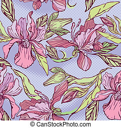パターン, すみれの花, seamless, -, 花, バックグラウンド。, 手, 引かれる, ラン