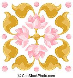 パターン, タイル, lotus., セラミック