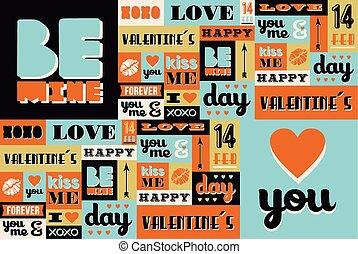 パターン, バレンタイン, レトロ, 型, 日, 幸せ