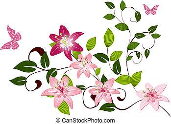 パターン, ユリ, 花, ブランチ