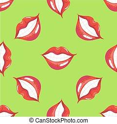 パターン, 唇, ベクトル, 微笑, seamless