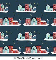 パターン, 家, christma, 冬, seamless