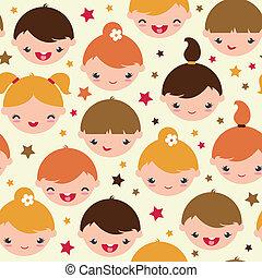 パターン, 微笑, 子供, 背景, seamless