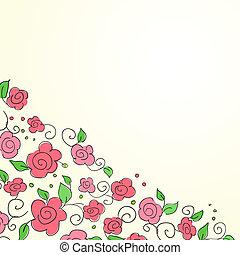 パターン, 花, 引かれる, 背景, 手