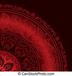 パターン, 装飾用である, 型, 赤, フレーム, ラウンド