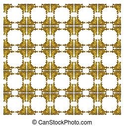パターン, 金属, 金, 背景, 切り分けなさい, 花, フレーム, 白