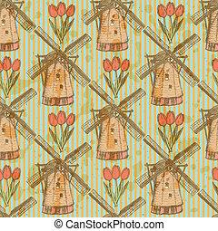 パターン, 風車, seamless, ベクトル, スケッチ, チューリップ