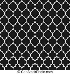 パターン, 黒, seamless, イスラム教, 白