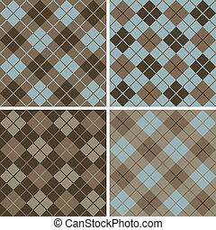 パターン, blue-brown, argyle-plaid