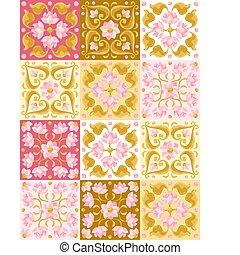 パターン, lotus., タイル, セラミック