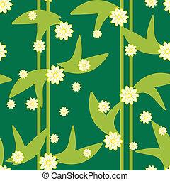 パターン, seamless, デザイン, 花, 緑, 花