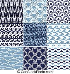 パターン, seamless, 海洋 波