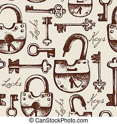 パターン, seamless, 錠, キー, 型, 手, 引かれる
