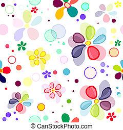 パターン, seamless, 鮮やか, 花