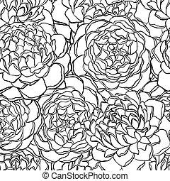 パターン, seamless, flowers., 黒, 白, モノクローム