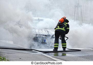 パッティング, 自動車, 消防士, 燃焼
