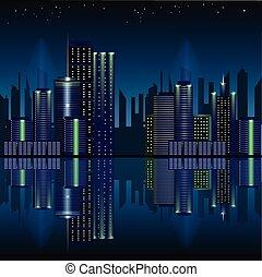 パノラマである, ダウンタウンに, 夜, 都市現場