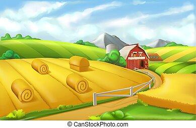 パノラマ, イラスト, farm., ベクトル, 風景, 3d