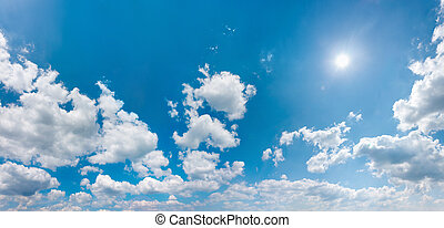 パノラマ, ウィット, 空, 照ること, 太陽