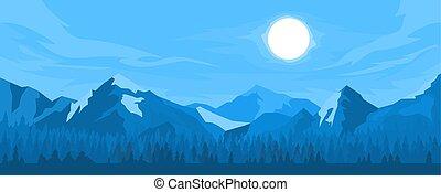 パノラマ, 山, 夜