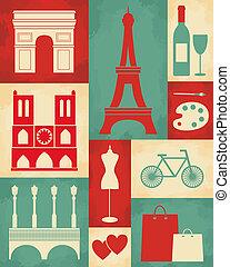 パリ, ポスター, レトロ