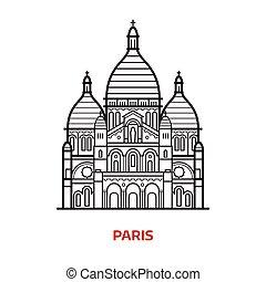 パリ, ランドマーク, ベクトル, イラスト