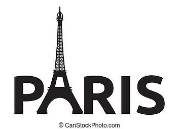 パリ, レトロ, タワー, カード, -, エッフェル