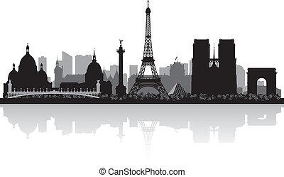 パリ, 都市 スカイライン, シルエット, フランス