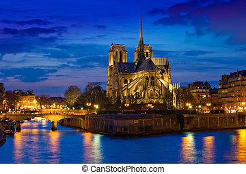 パリ, notre, フランス, 夜, 大聖堂, 貴婦人