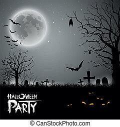 パーティー, ハロウィーン, 背景, 恐い