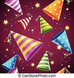 パーティー, ベクトル, pattern., 背景, 帽子