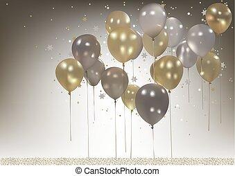 パーティー, 白, 風船, 背景, 金