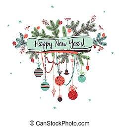 パーティー, 背景, 木, イラスト, 装飾, 2017., ベクトル, ブランチ, 年, 新しい, 白い クリスマス, 幸せ