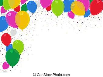 パーティー, 風船, カラフルである, 背景