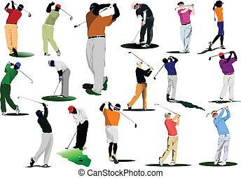 ヒッティング, ゴルファー, ボール, 鉄, club.