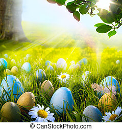 ヒナギク, イースター, 芸術, 草, 飾られた 卵
