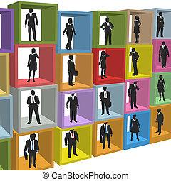 ビジネスオフィス, 人々, 箱, キュービクル, 資源