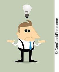 ビジネスマン, いいえ, 考え, 漫画