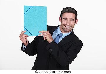 ビジネスマン, すべて, 保有物, ファイル, 微笑