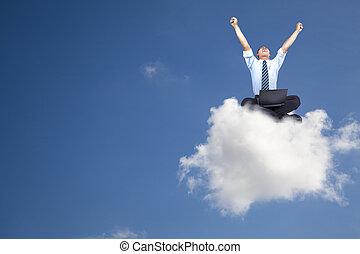 ビジネスマン, コンピュータ, 若い, 雲, モデル