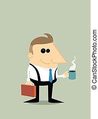 ビジネスマン, コーヒー, 漫画, 幸せ