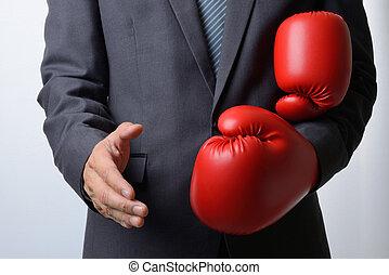 ビジネスマン, ボクシング用グラブ, 握手, 提供, 取除きなさい, b, 白